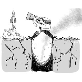 風刺漫画「北朝鮮ロケットと大震災」