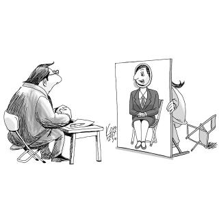 風刺画「新卒社員面接」