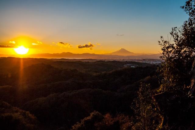 勝上献・展望台からみた夕日の富士山