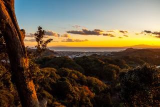 勝上献・展望台から見下ろす夕日の相模湖と鎌倉の街