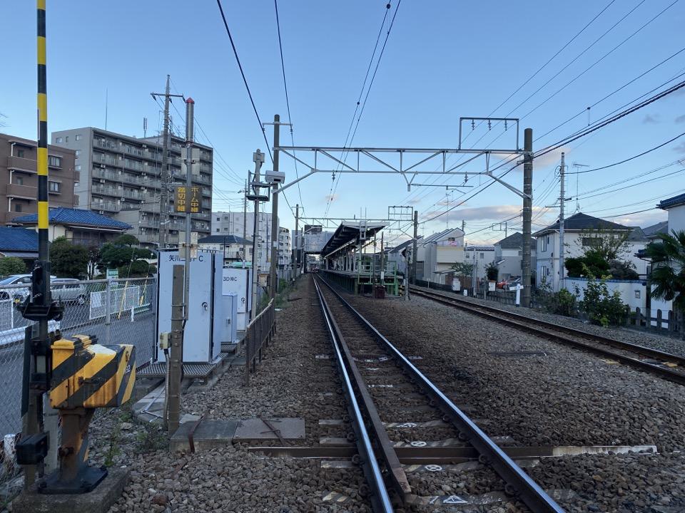 JR矢川駅の西側踏切